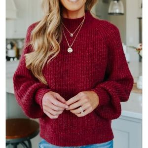 Mock Neck Plum Flecked Sweater